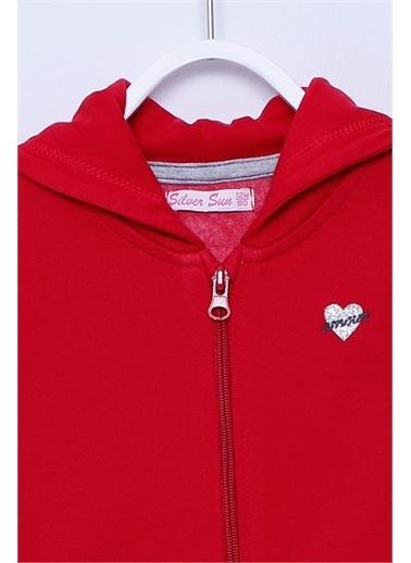 Silversun Kids Fermuarlı Kapşonlu Örme Sweatshirt Jm-113161 Kırmızı